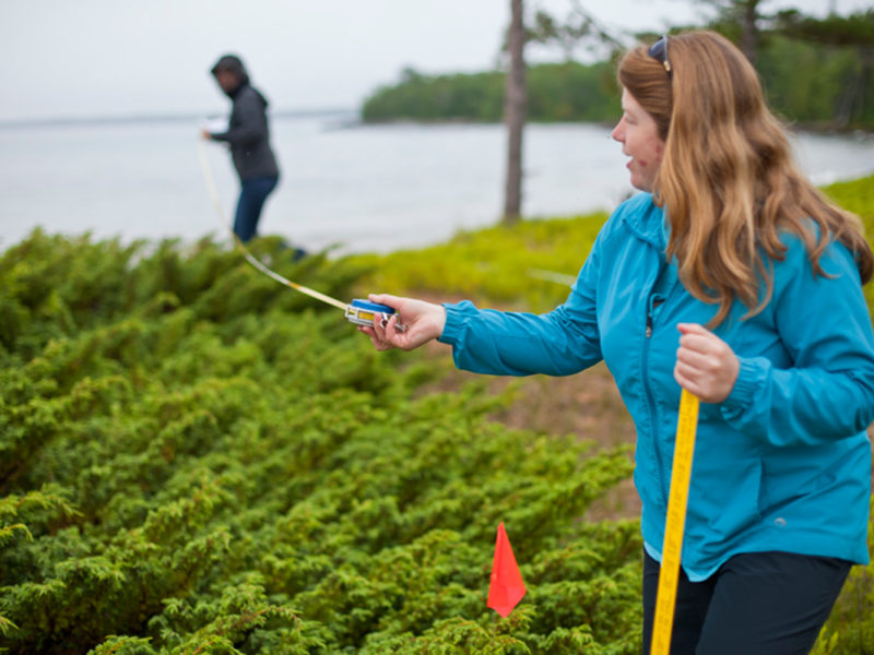 Professor Sarah Johnson holds measuring tape at Stockton Island