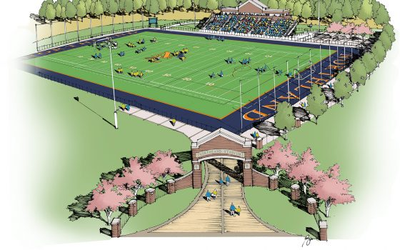 Drawing of lacrosse and soccer stadium project.