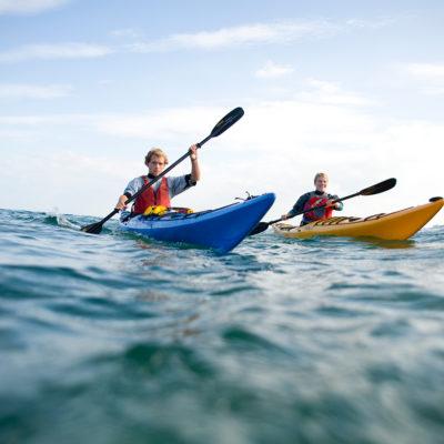 kayaking students