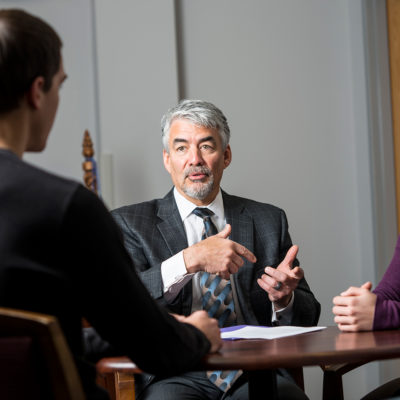 President Miller meeting with students