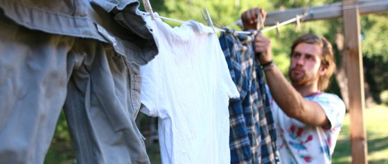 Student with clothes line