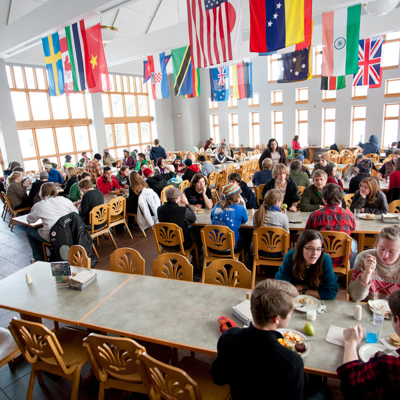 student in cafeteria