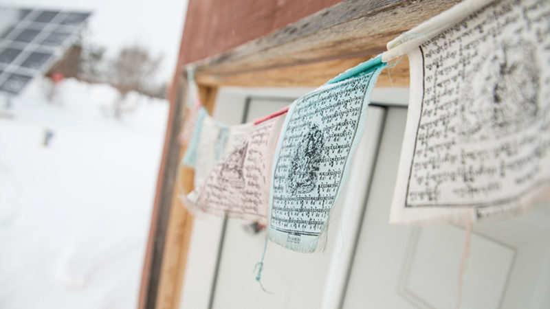 Prayer flags hanging on campus