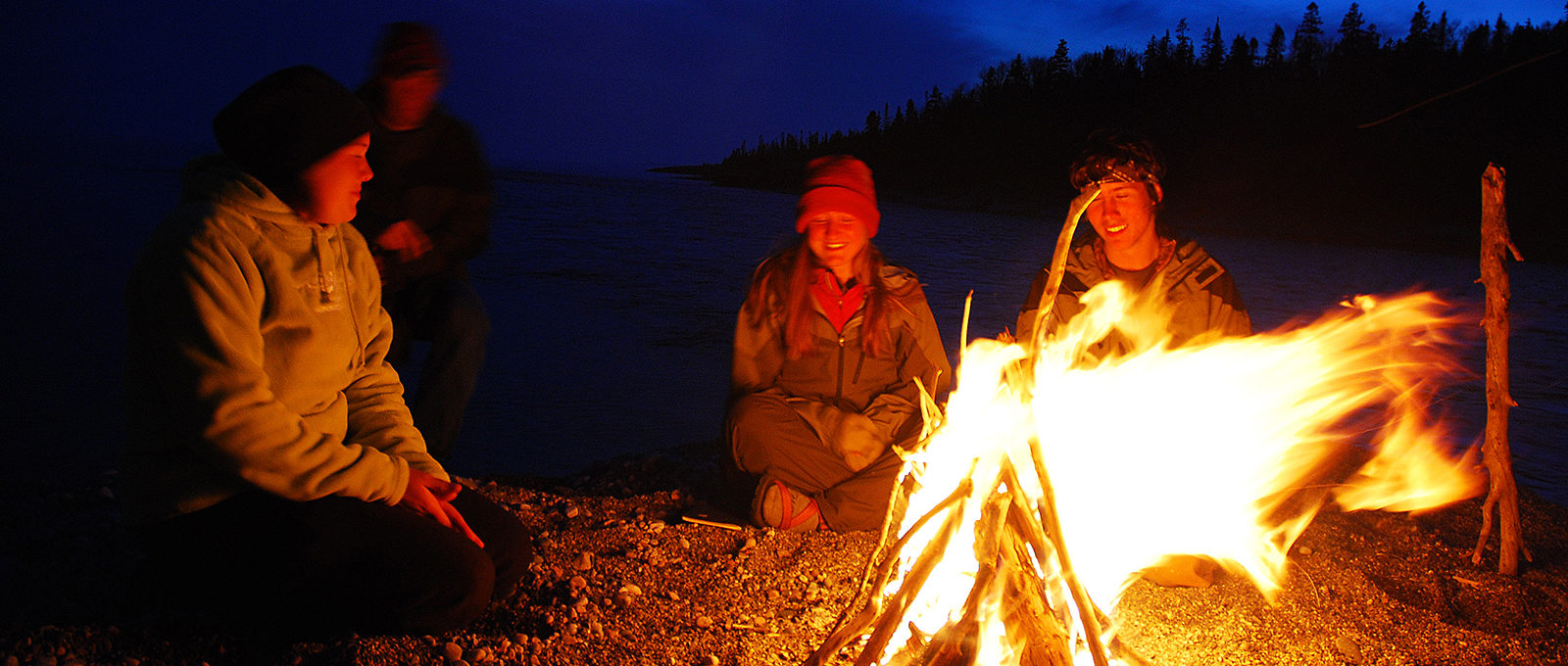 Students at a camp fire