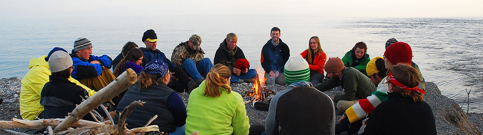 Students around a camp fire