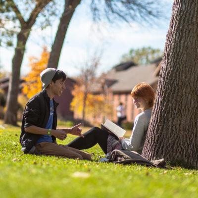 students outside