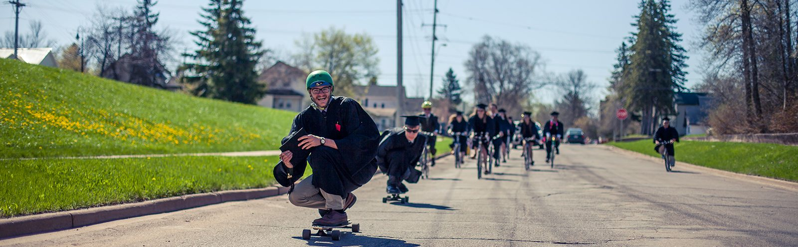 Graduates skating to commencement