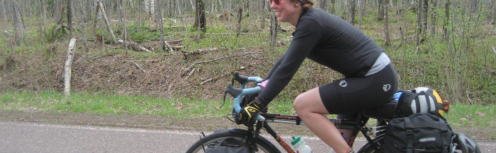 Liz Downey on bike May Term