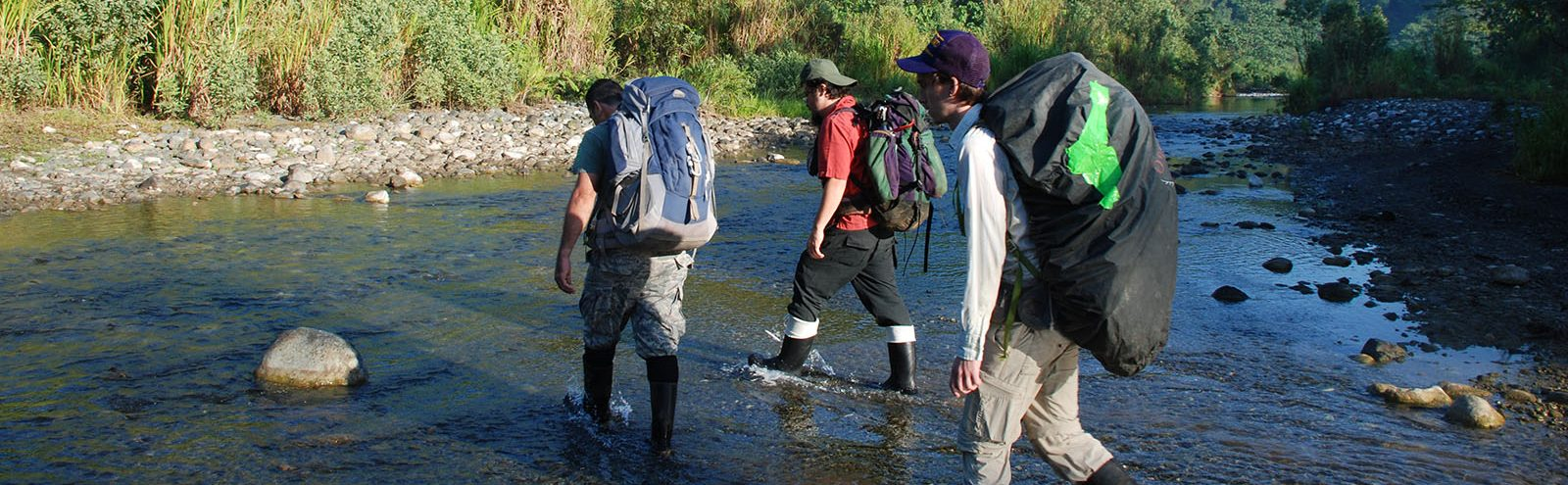 Three researchers walking through stream