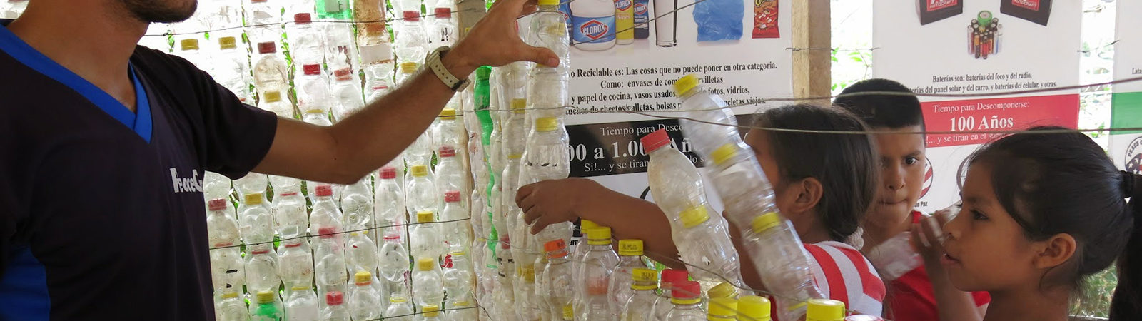 kids make soda bottle structure