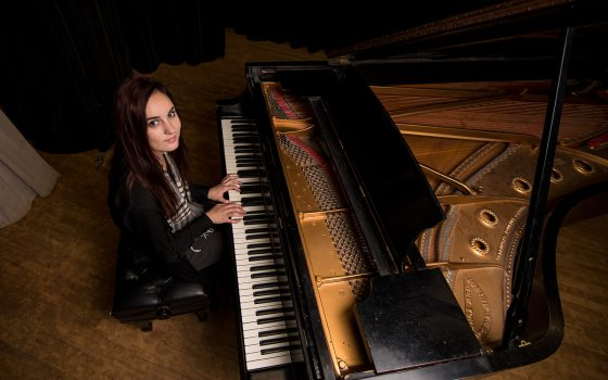 Hattie Hoffman at piano