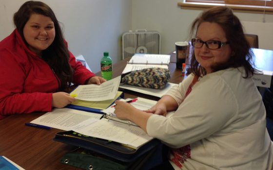 Two students create lesson plan