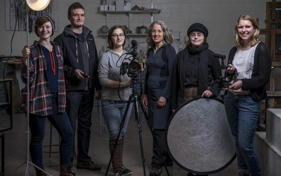 Northland College filmmaking students and Professor Paulette Moore