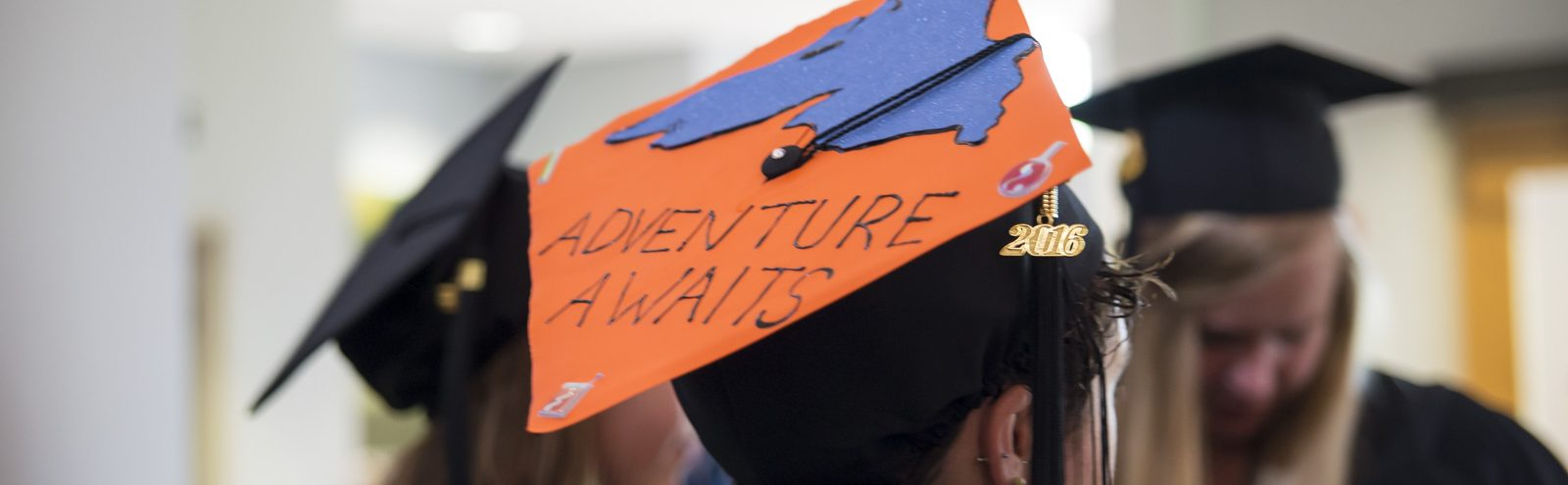 Mortar board decorated with Lake Superior