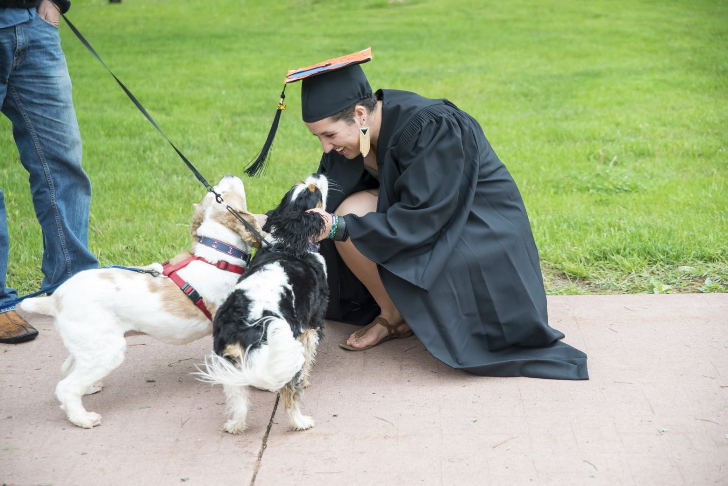 Northland College student takes time to pet dogs