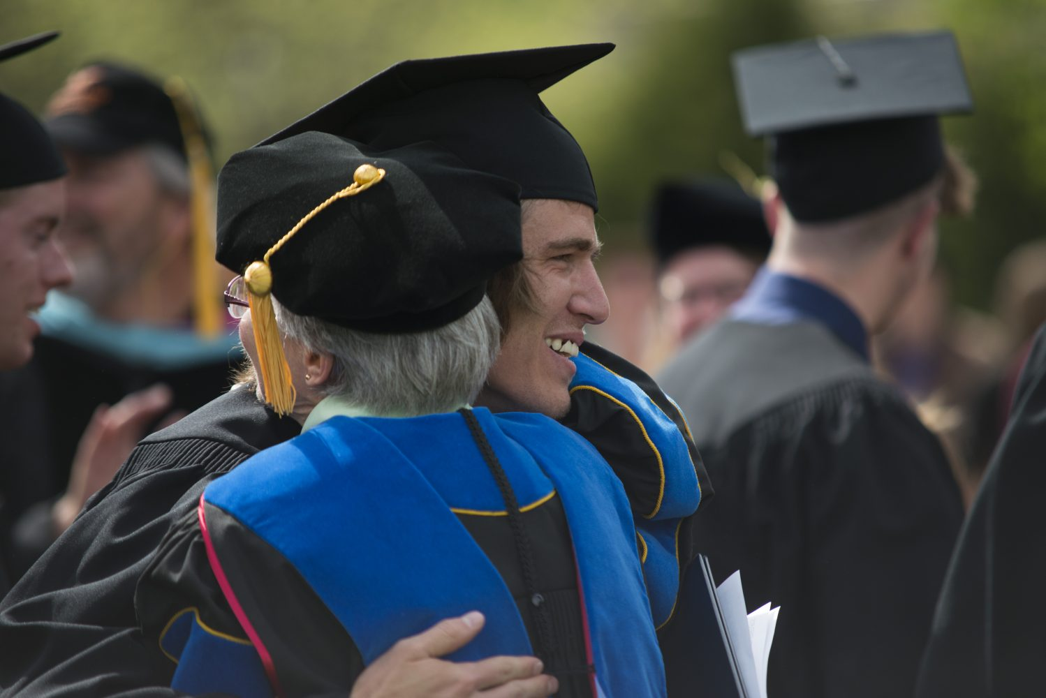 Hug at commencement
