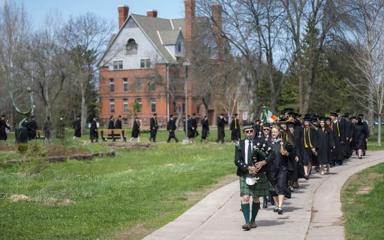 Bag pipes lead students across campus