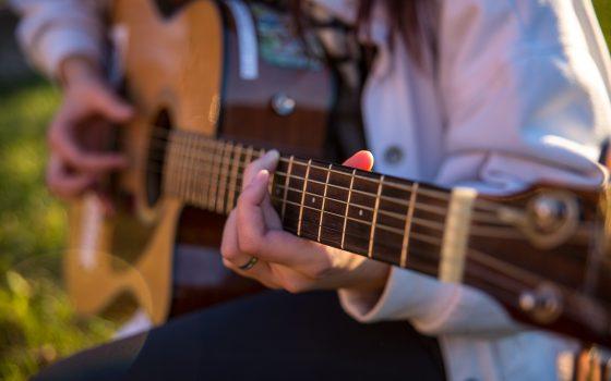 Close-up of a guitar.