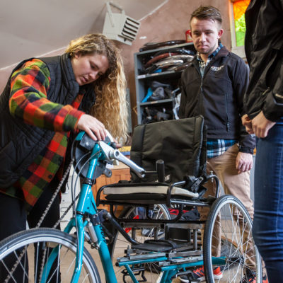 Students work on adaptive bike