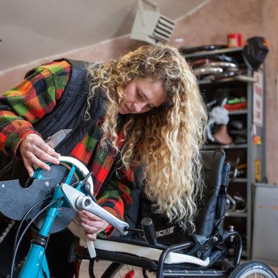 Student works on adaptive bike