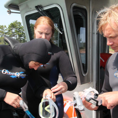 Scuba divers on boat