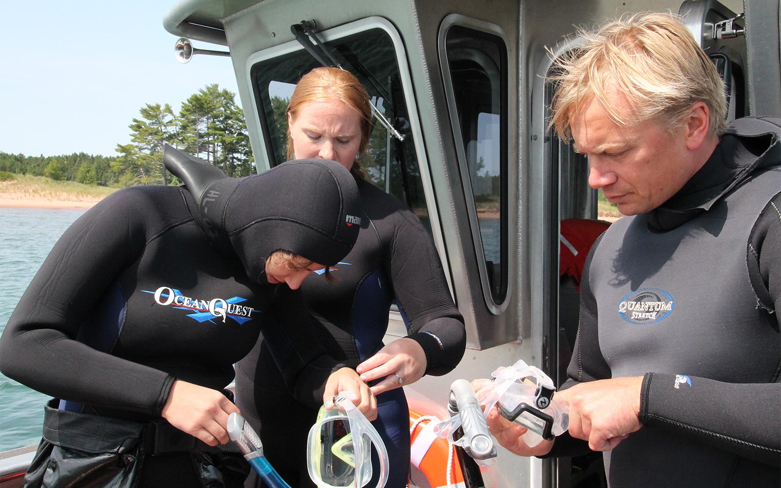 Scuba divers on boat