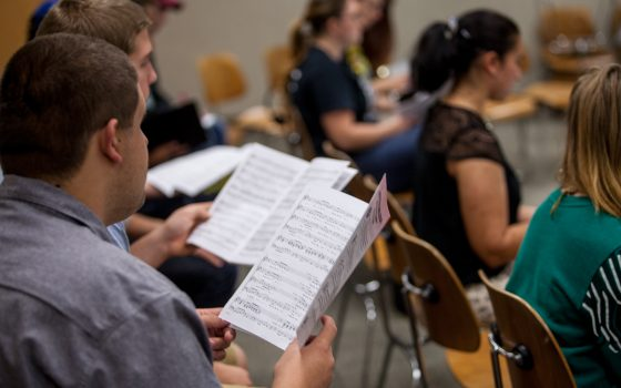 Northland College choir at practice
