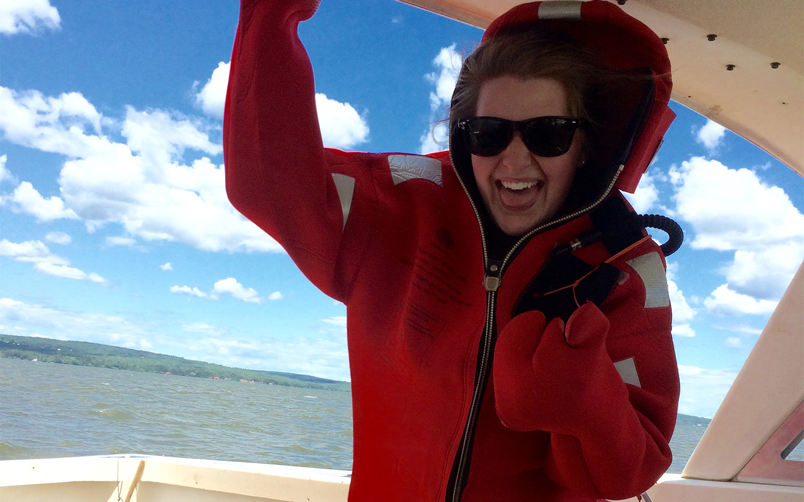 Northland College student on Lake Superior.
