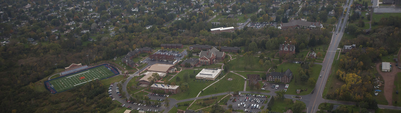 Aerial shot of campus and surrounding region