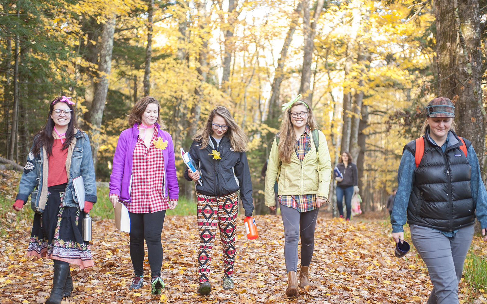 Northland College students walking in fall