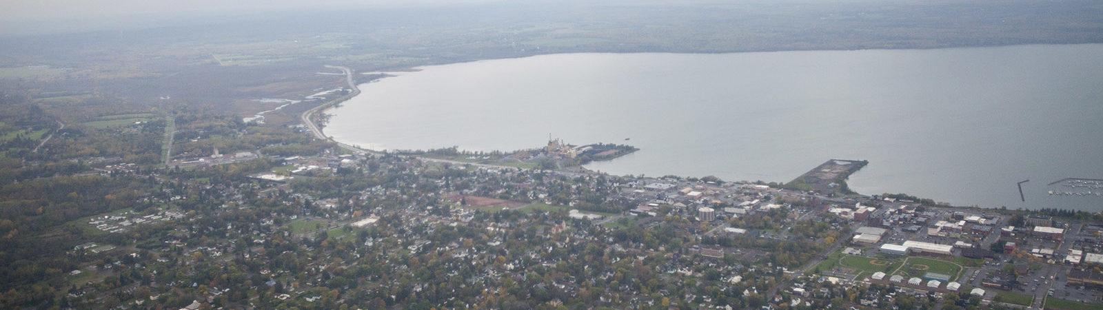Aerial shot of Ashland and Chequamegon Bay
