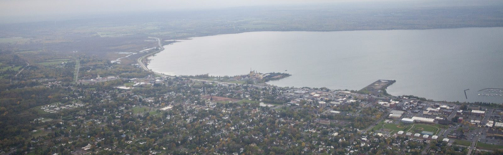 Aerial shot of Ashland and Chequamegon Bay