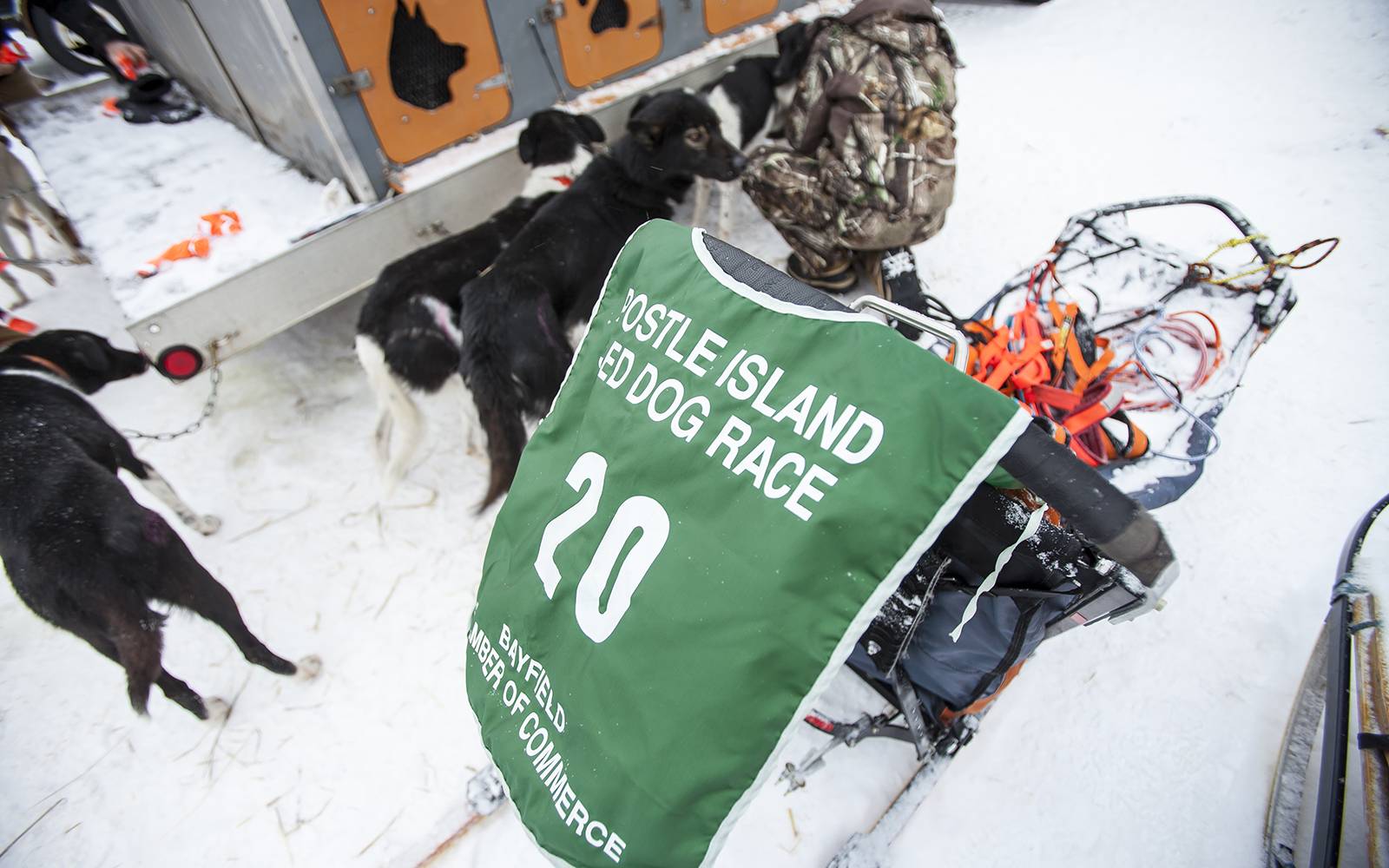 Racing sled at Apostle Islands Sled Dog Race