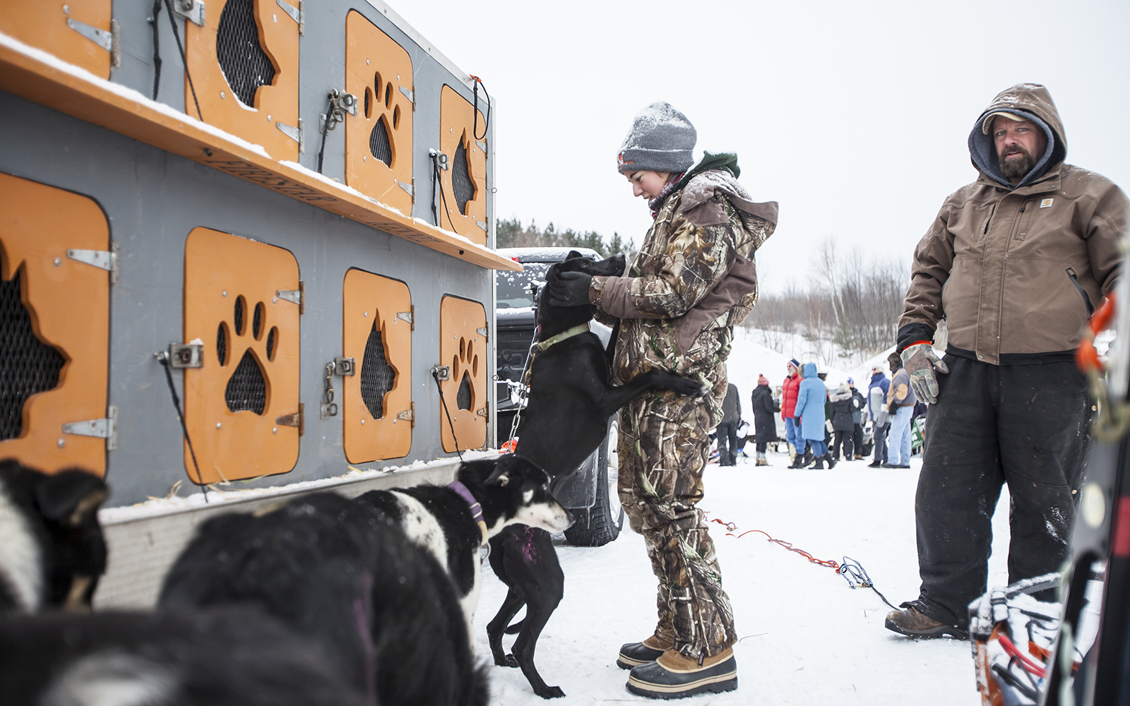 Northland College student at the Apostle Islands Sled Dog Race.