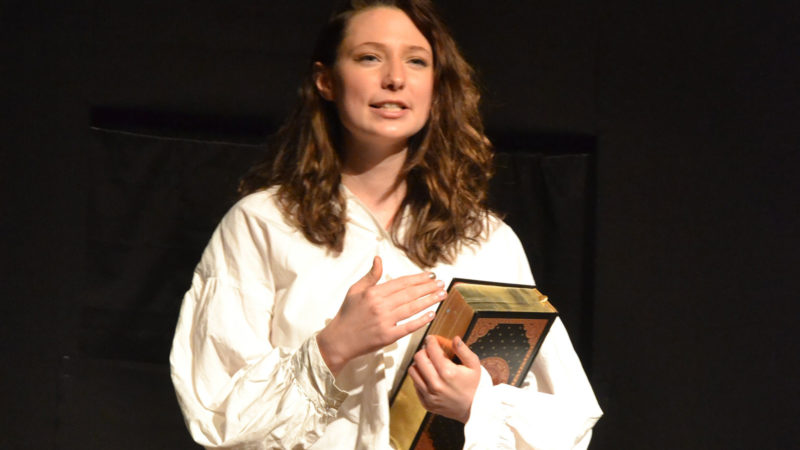 Northland College student acting in Shakespeare play.