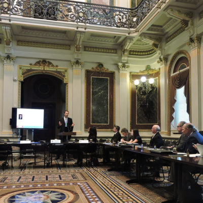 Northland College water researcher Matt Cooper presents at White House