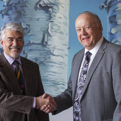 Northland College President Mike Miller and Professor Emeritus Bruce Goetz