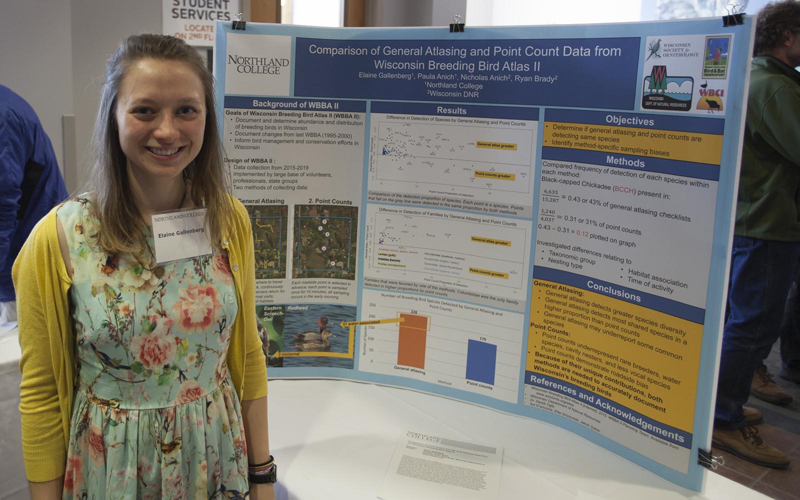 Northland College student presents research on bird count methodologies.