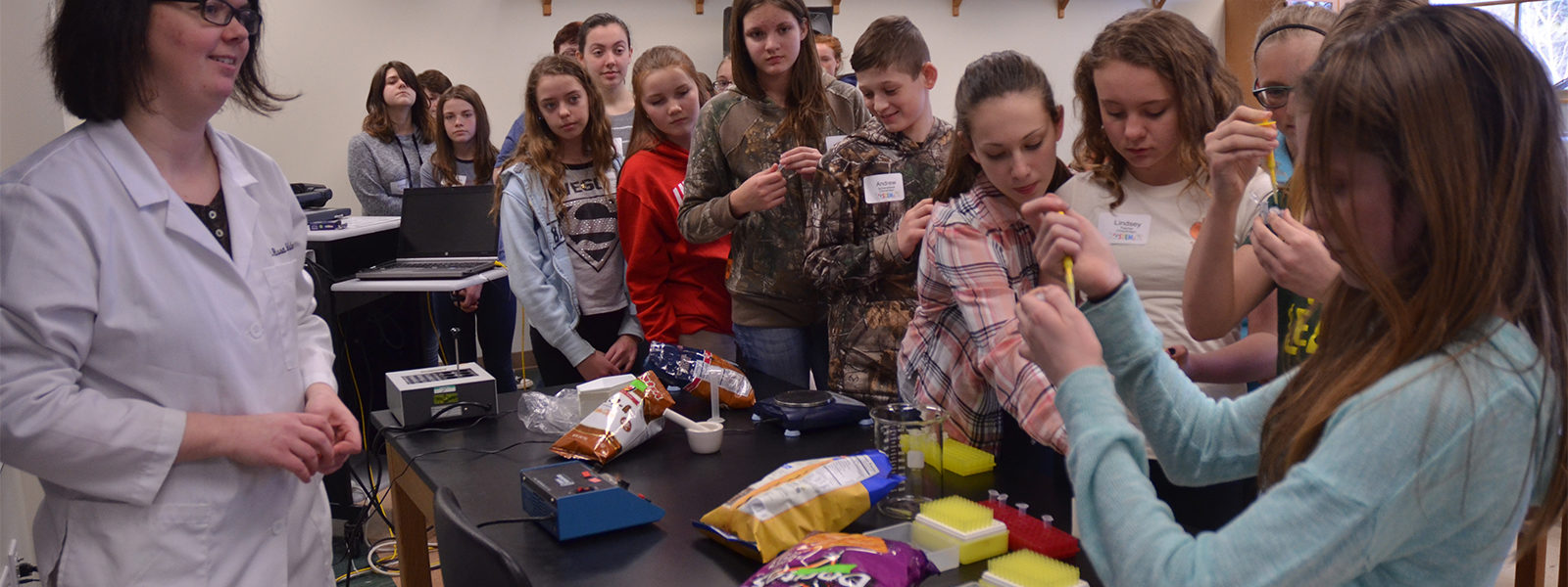 Students line up for testing GMOs at STEM Career Day