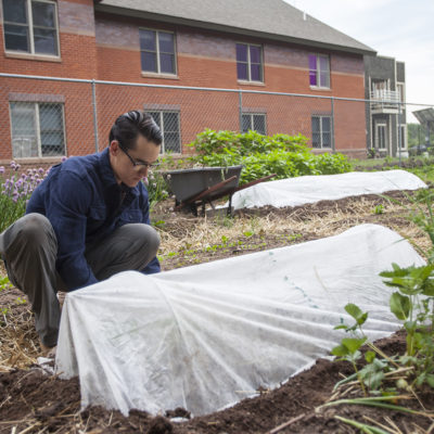 Northland College student installing hoop house