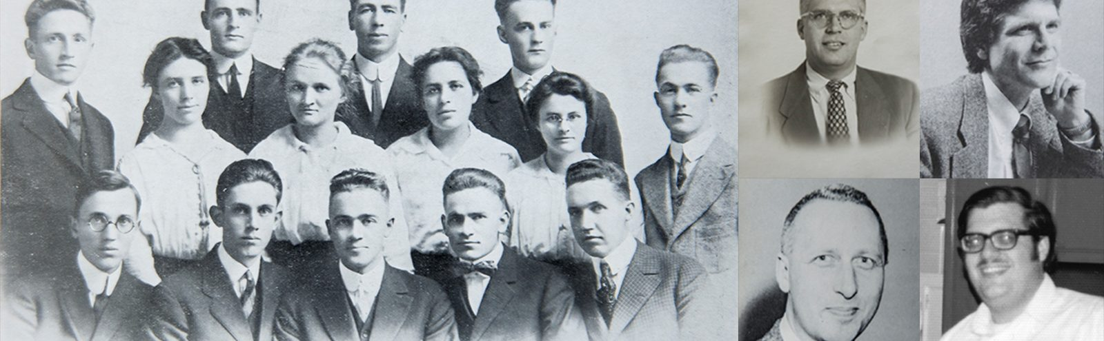Collage of historical photos of the Bro Family at Northland College