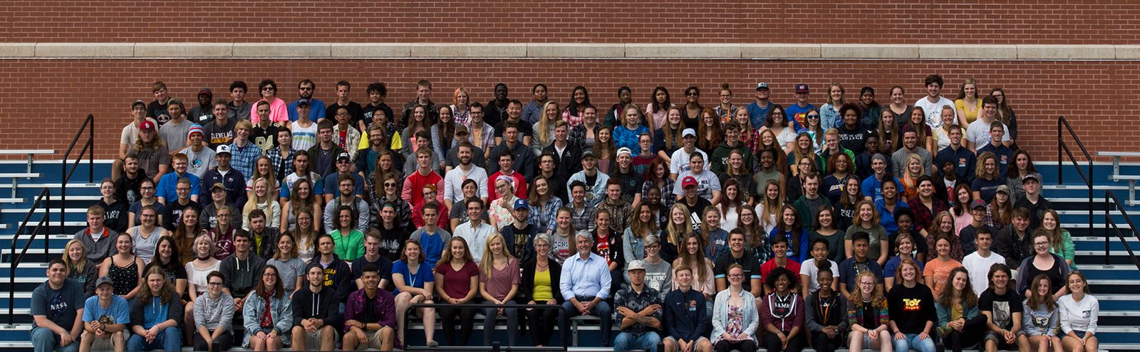 The Northland College Class of 2021 sits with President Miller for a class photo