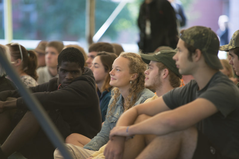 Northland College students listen to a speaker at the Convocation