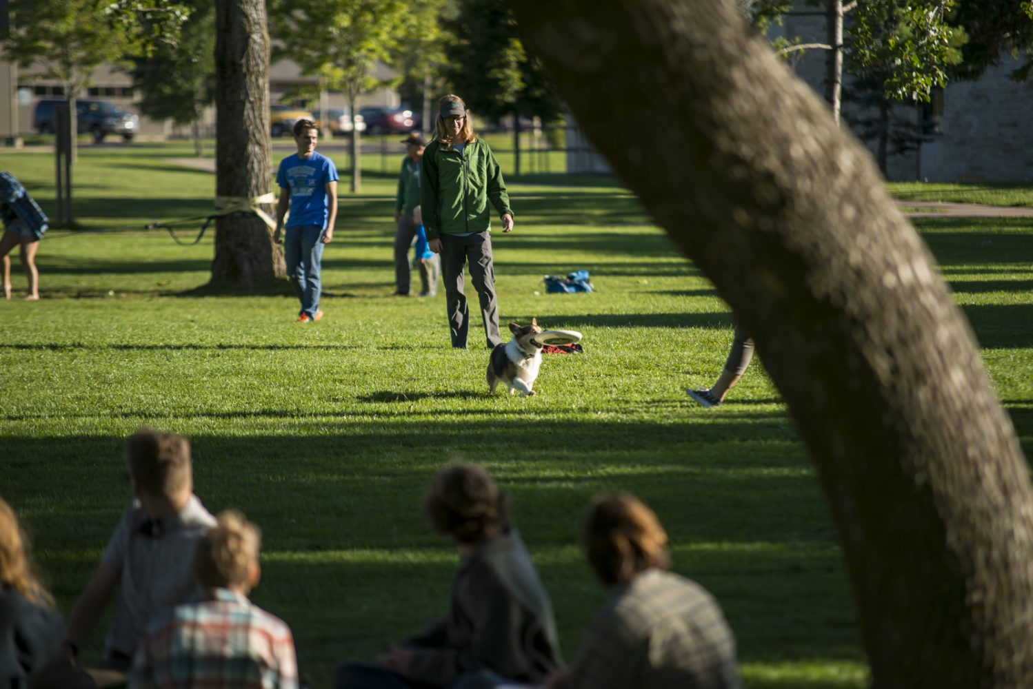 Northland College students play frisbee with dog on campus mall.