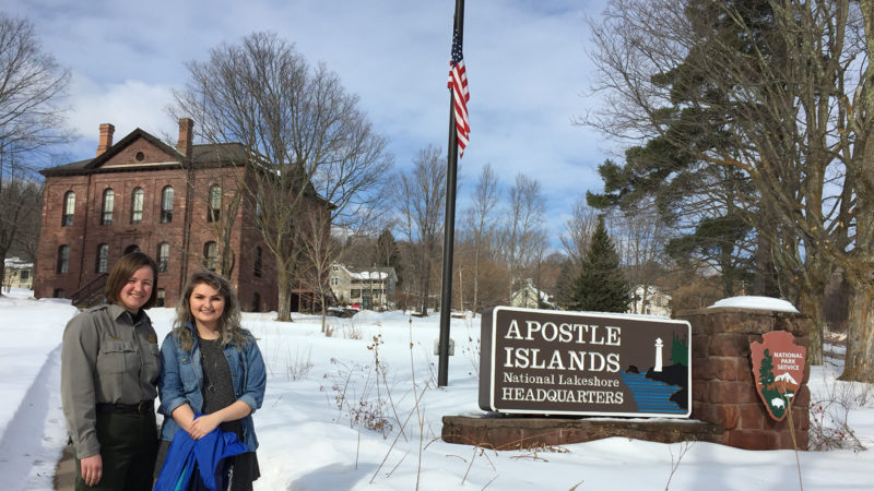 Northland College student Abby Keller and National Park Service mentor Caroline Twombly stand outside the Apostle Islands National Lakeshore