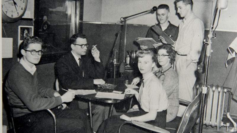 Northland College students do radio interview in early 1960s with photographer and curator John Szarkowski