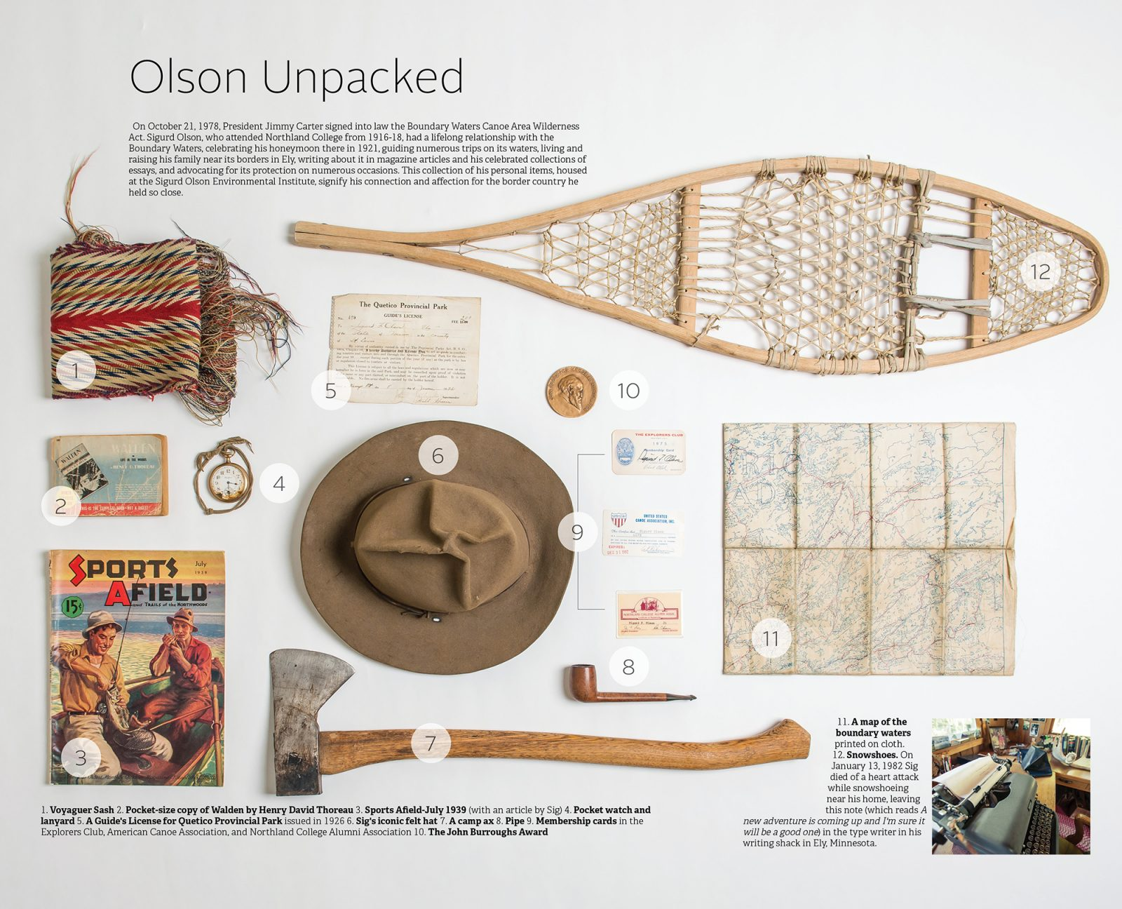 Sigurd Olson graphic of items