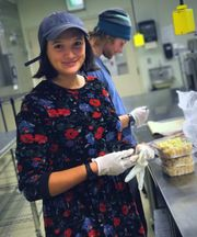 Northland College student Jenise Swartley in food lab