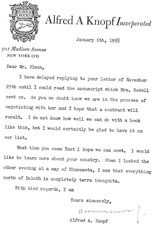 Sigurd Olson letter from Alfred Knopf