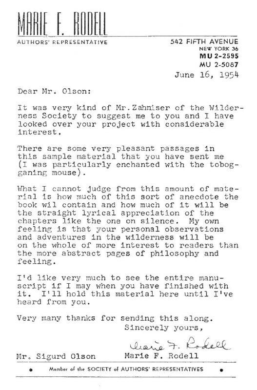 Sigurd Olson letter from Marie Rodell